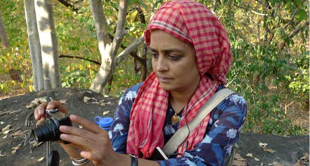 Arundhati Roy finds a quiet moment to herself during a punishing visit to the forest where she became the first journalist/writer to break the taboo of of interviewing Maoist guerrillas in their lair.